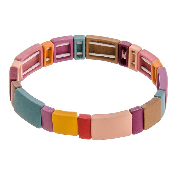 """Color-block stretch bracelet. Approximately 3"""" in diameter unstretched. Fits up to a 6"""" wrist."""