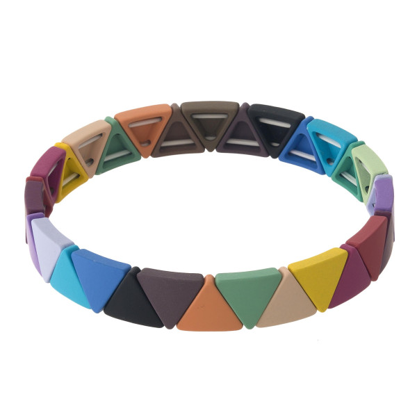 """Resin triangle block stretch bracelet. Approximately 3"""" in diameter unstretched. Fits up to a 6"""" wrist."""
