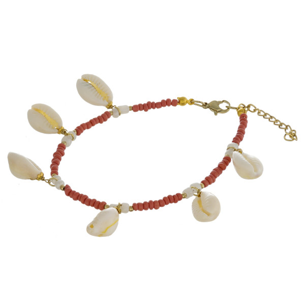 "Beaded anklet featuring puka shell accents. Approximately 4"" in diameter. Fits up to a 8"" ankle."