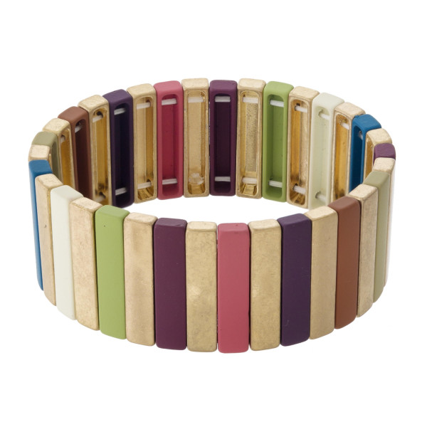 """Metal block stretch bracelet featuring resin details. Approximately 3"""" in diameter unstretched. Fits up to a 6"""" wrist."""