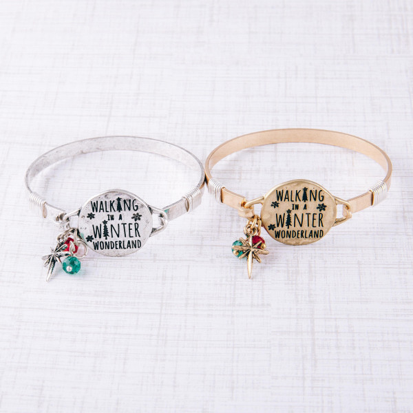 """""""Walking in Winter Wonderland"""" engraved bangle charm bracelet. Approximately 2.5"""" in diameter. Fits up to a 5"""" wrist."""