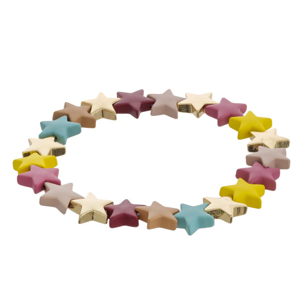 """Color block star beaded stretch bracelet. Approximately 3"""" in diameter unstretched. Fits up to a 6"""" wrist."""