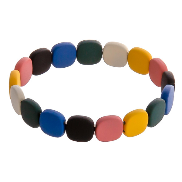"Flat square color block beaded stretch bracelet. Approximately 3"" in diameter unstretched. Fits up to a 6"" wrist."