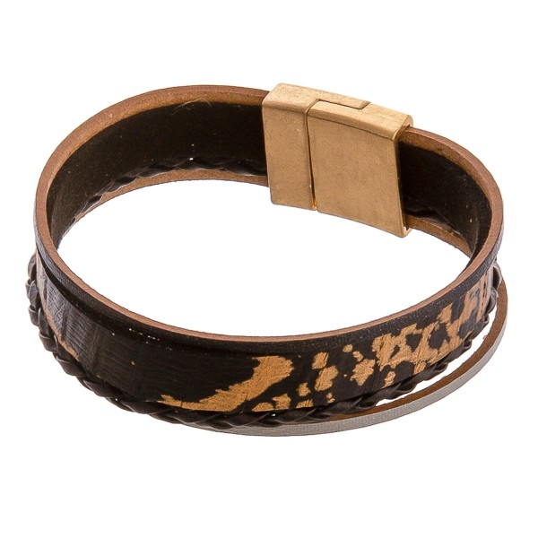 """Multi stand metallic accented genuine leather magnetic bracelet. Approximately 3"""" in diameter. Fits up to a 6"""" wrist."""