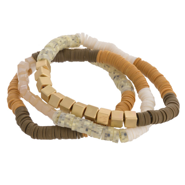 """Multicolor spacer beaded stretch bracelet set featuring gold bead details. Approximately 3"""" in diameter unstretched. Fits up to a 6"""" wrist."""