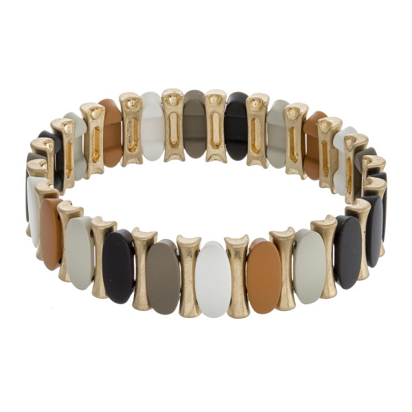 """Color block oval-bar stretch bracelet. Approximately 3"""" in diameter unstretched. Fits up to a 6"""" wrist."""