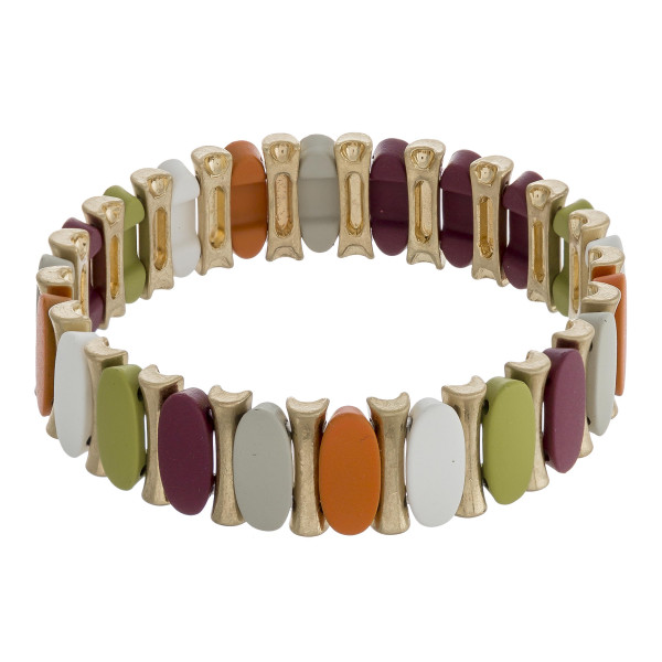 """Metal tone color oval-bar stretch bracelet. Approximately 3"""" in diameter unstretched. Fits up to a 6"""" wrist."""
