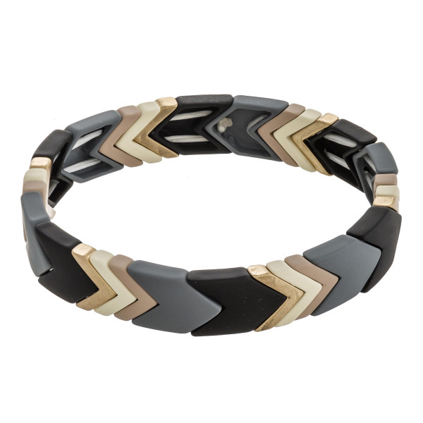 "Multicolor chevron color block stretch bracelet. Approximately 3"" in diameter unstretched. Fits up to a 6"" wrist."