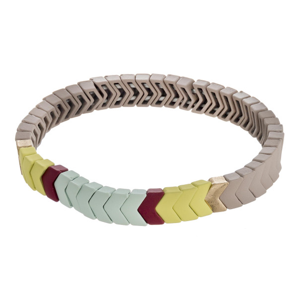 """Chevron color block beaded stretch bracelet. Approximately 3"""" in diameter unstretched. Fits up to a 6"""" wrist."""