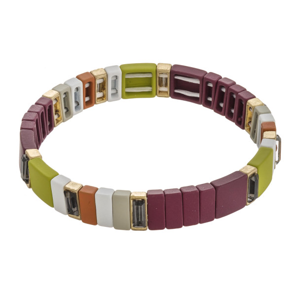 "Multicolor rhinestone color block stretch bracelet.   - Approximately 3"" in diameter unstretched - Fits up to a 6"" wrist"