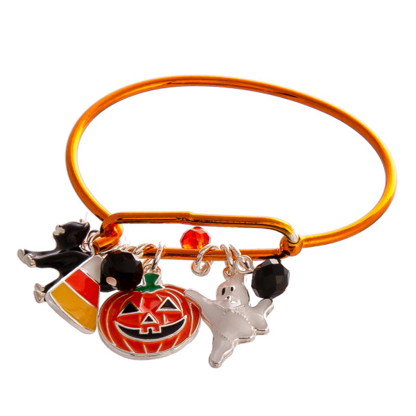 "Halloween charm bangle bracelet. Approximately 2.5"" in diameter. Fits up to a 5"" wrist."