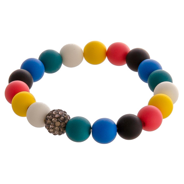 "Color block ball beaded stretch bracelet with rhinestone accents. Approximately 3"" in diameter unstretched. Fits up to a 6"" wrist."