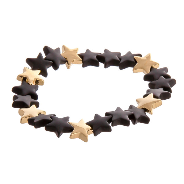 "Color block star beaded stretch bracelet. Approximately 3"" in diameter unstretched. Fits up to a 6"" wrist."