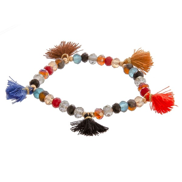 """Multicolor beaded tassel stretch bracelet.   - Approximately 3"""" in diameter unstretched - Fits up to a 6"""" wrist"""