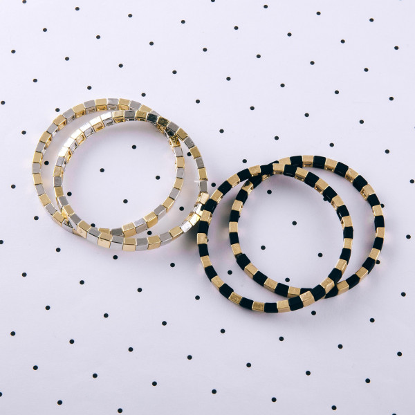 """Square color block beaded stretch bracelet set. Approximately 3"""" in diameter. Fits up to a 6"""" wrist."""