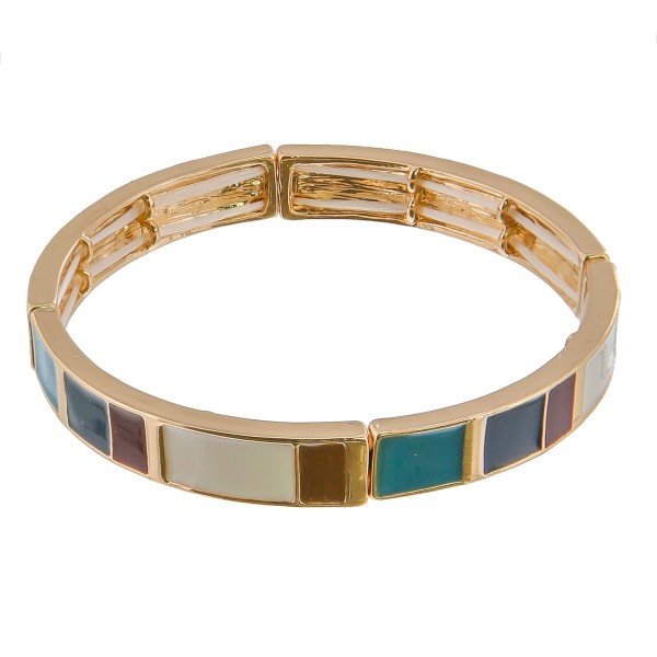 "Enamel color coated color block stretch bracelet.  - Approximately 3"" in diameter unstretched - Fits up to a 6"" wrist"