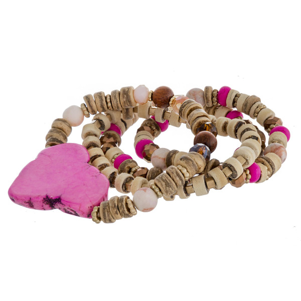 """Semi precious wood beaded natural stone stretch bracelet set. Approximately 3"""" in diameter unstretched. Fits up to a 6"""" wrist."""