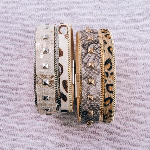"""Multi animal print studded faux leather magnetic bracelet. Approximately 3"""" in diameter, 1"""" in width. Fits up to a 6"""" wrist."""