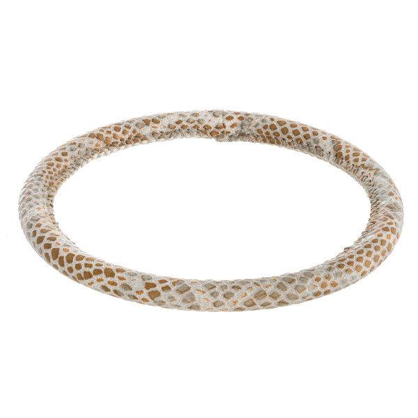 """Faux leather snakeskin bangle bracelet. Approximately 3"""" in diameter. Fits up to a 6"""" wrist."""