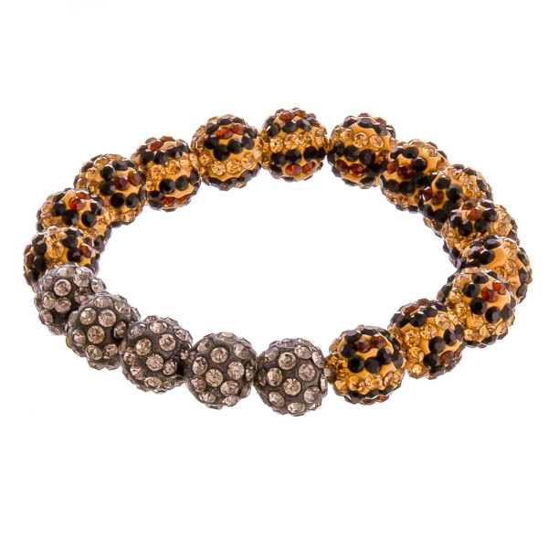 """Leopard print rhinestone beaded stretch bracelet. Approximately 3"""" in diameter unstretched. Fits up to a 6"""" wrist."""