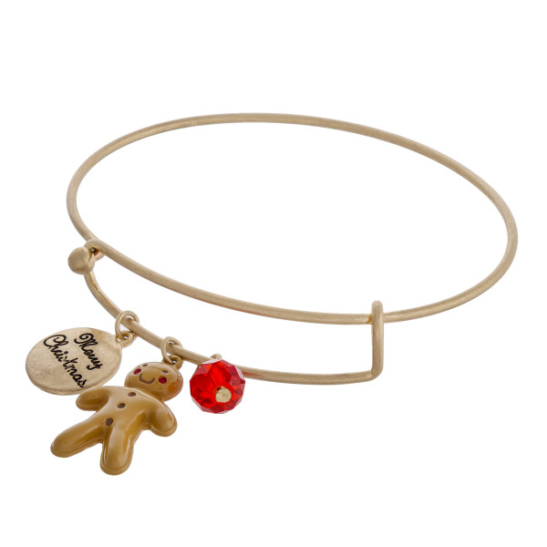 """Gold Christmas charm bangle bracelet with hook closure. Approximately 3"""" in diameter. Fits up to a 6"""" wrist."""