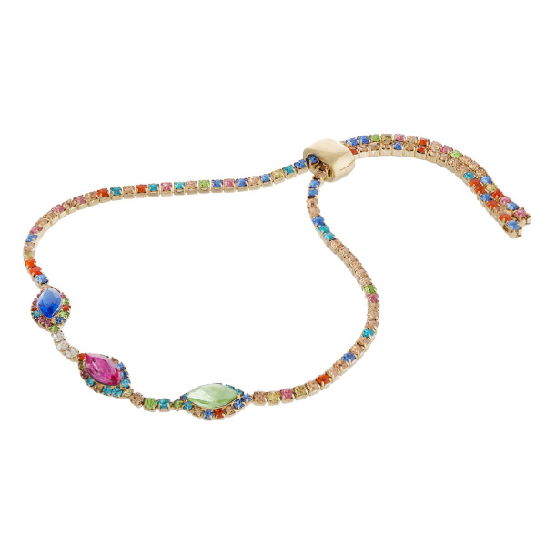 "Multicolor rhinestone cubic zirconia slider bracelet. Approximately 3"" in diameter with adjustable slide closure."