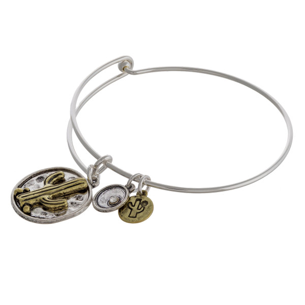 """Two tone cactus charm bangle bracelet with hook closure. Approximately 3"""" in diameter. Fits up to a 6"""" wrist."""