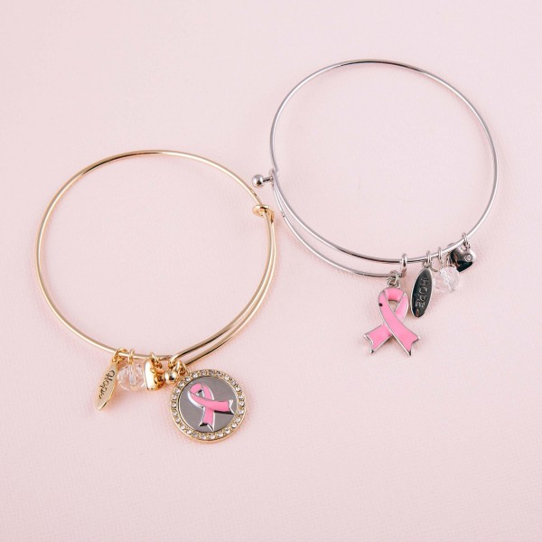 "Breast Cancer Awareness charm bangle bracelet with hook closure. Approximately 3"" in diameter. Fits up to a 6"" wrist."