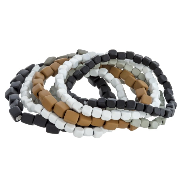 """Heavyweight multicolor coated block beaded stretch bracelet set of seven. Approximately 3"""" in diameter unstretched. Fits up to a 6"""" wrist."""