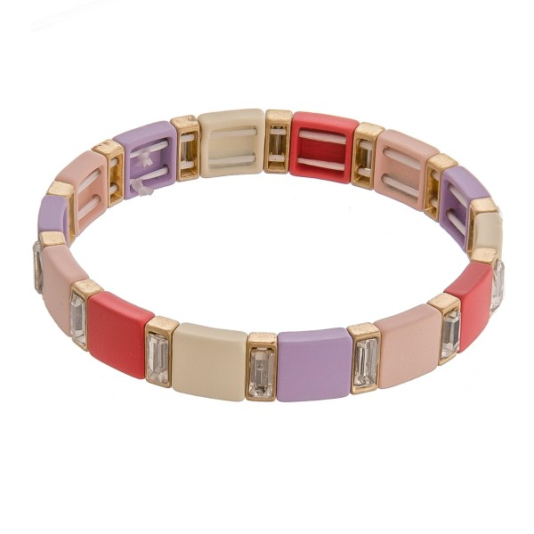 """Rhinestone color block stretch bracelet.  - Approximately 3"""" in diameter unstretched - Fits up to a 6"""" wrist"""