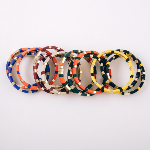 """Color coated Game day color block stretch bracelet set of three.  - Approximately 3"""" in diameter unstretched  - Fits up to a 6"""" wrist"""