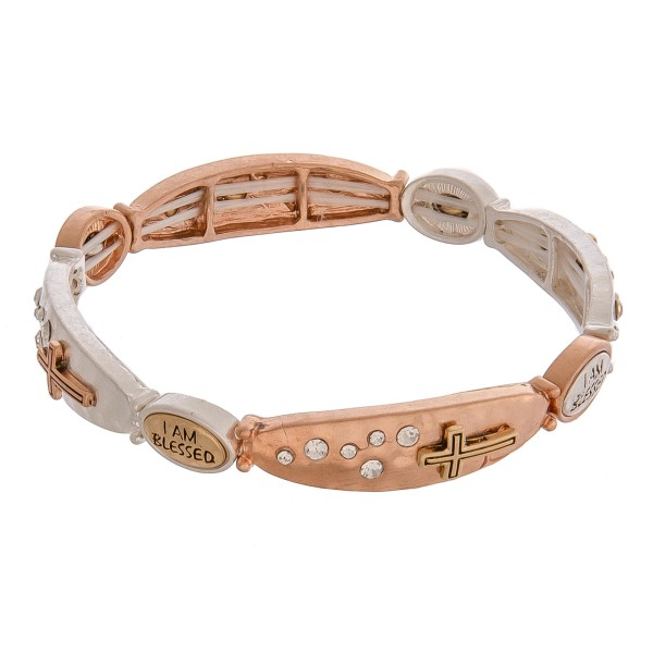 """I am Blessed multi tone inspirational metal stretch bracelet with rhinestone details.   - Approximately 3"""" in diameter unstretched - Fits up to a 6"""" wrist"""