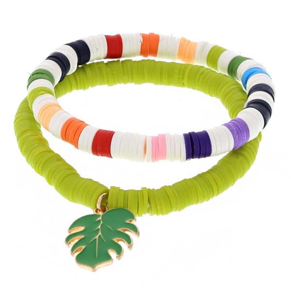 """Spacer beaded stretch bracelet set of two with an enamel coated palm leaf charm.  - Approximately 3"""" in diameter unstretched - Fits up to a 6"""" wrist"""