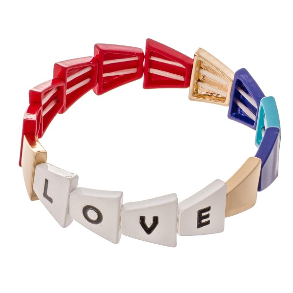 "Gold Tone Enamel Coated Triangle ""Love"" Letter Color Block Stretch Bracelet.  - Approximately 3"" in diameter - Fits up to a 7"" wrist"