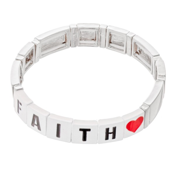 "Silver Tone Enamel Coated Tile ""Fatih"" Letter Block Stretch Bracelet with Heart Detail.  - Approximately 3"" in diameter - Fits up to a 7"" wrist"
