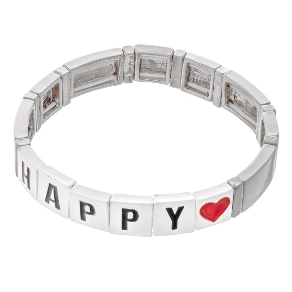 "Silver Tone Enamel Coated Tile ""Happy"" Letter Block Stretch Bracelet with Heart Detail.  - Approximately 3"" in diameter - Fits up to a 7"" wrist"