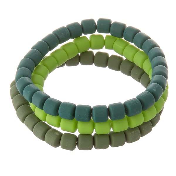 "Rubber Block Beaded Stretch Bracelet Set.  - 3pcs/set - Approximately 3"" in diameter unstretched - Fits up to a 7"" wrist"