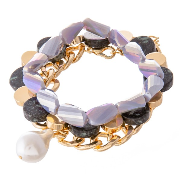 "Chunky Semi Precious Pearl Chain Link Statement Bracelet Set.  - 3pcs/set - Stretchy with Adjustable Lobster Clasp - Approximately 3"" in diameter unstretched - Fits up to a 7"" wrist"