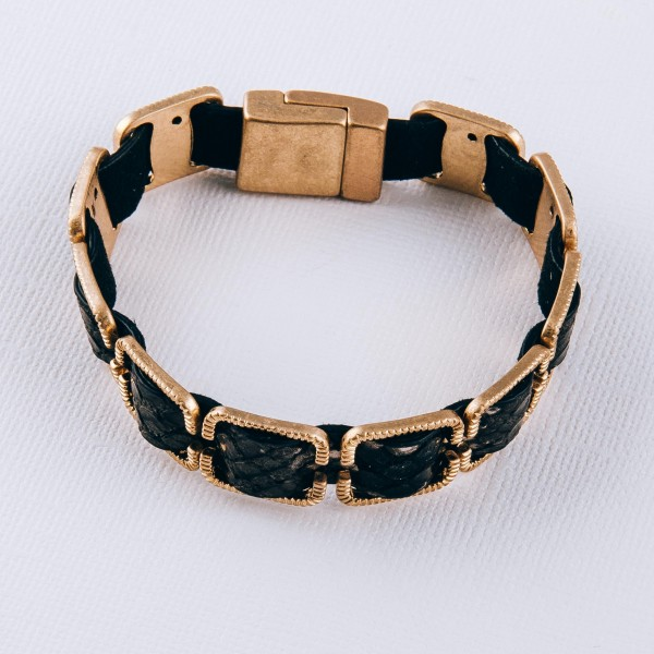 """Faux leather snakeskin woven buckle bracelet with magnetic closure.  - Approximately 3"""" in diameter - Fits up to a 6"""" wrist"""