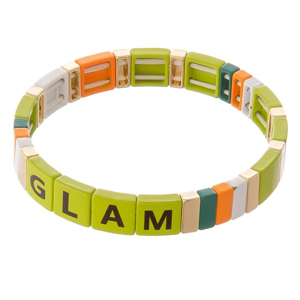 """Shiny enamel coated letter color block stretch bracelet.  - Approximately 3"""" in diameter unstretched - Fits up to a 7"""" wrist"""