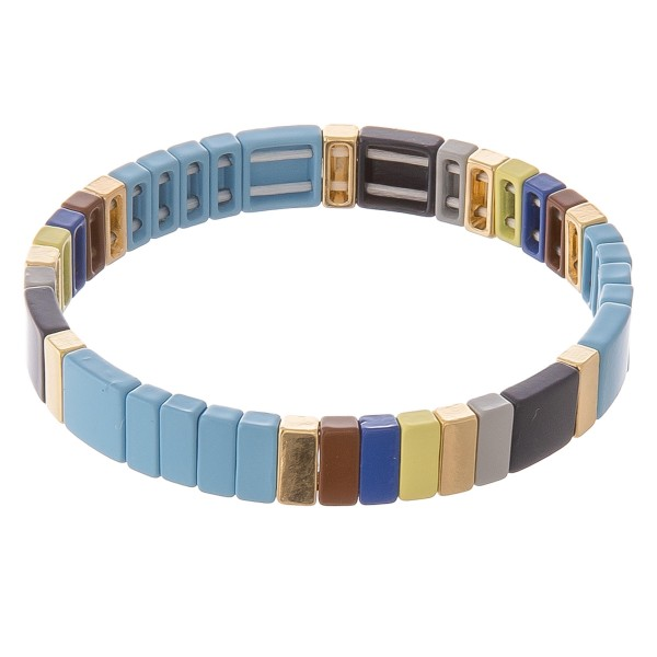 """Shiny enamel coated multi color block stretch bracelet.  - Approximately 3"""" in diameter unstretched - Fits up to a 7"""" wrist"""