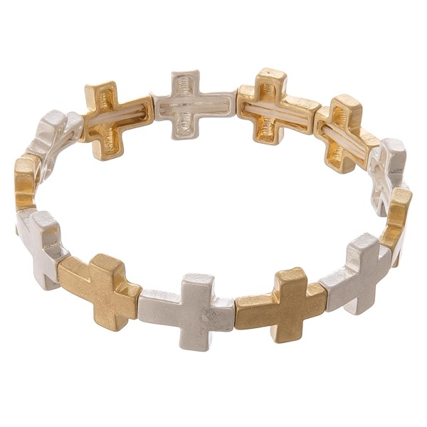 """Two tone metal cross stretch bracelet.  - Approximately 3"""" in diameter unstretched - Fits up to a 7"""" wrist"""