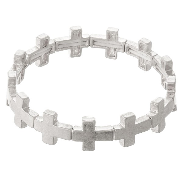 """Metal cross stretch bracelet.  - Approximately 3"""" in diameter unstretched - Fits up to a 7"""" wrist"""