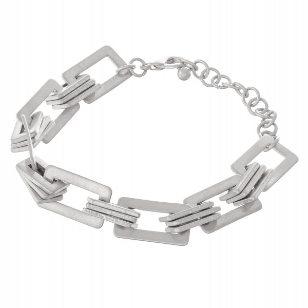 """Square chain linked metal bracelet with adjustable extender.  - Lobster clasp closure - Adjustable 2"""" extender - Approximately 3"""" in diameter - Fits up to an 8"""" wrist"""
