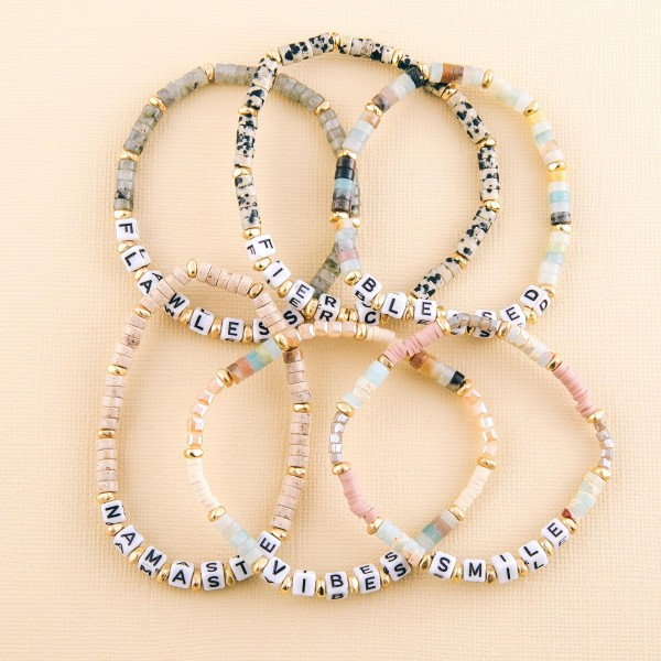 """Semi precious beaded """"Fierce"""" letter stretch bracelet.  - Approximately 3"""" in diameter unstretched - Fits up to a 7"""" wrist"""