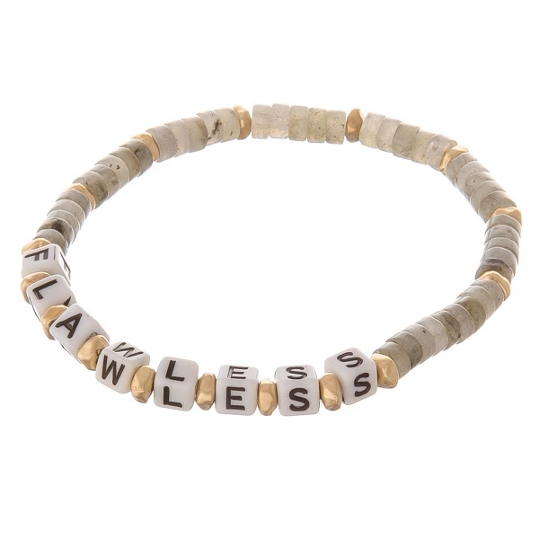 """Semi precious beaded """"Flawless"""" letter stretch bracelet.  - Approximately 3"""" in diameter unstretched - Fits up to a 7"""" wrist"""