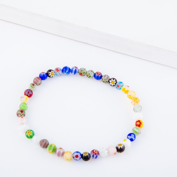 "Multicolor Semi Precious Flower Beaded Stretch Anklet.  - Approximately 4"" in diameter - Fits up to a 7"" ankle"