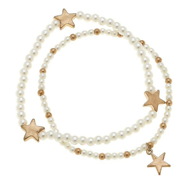 """Worn Gold Pearl Beaded Star Stretch Bracelet Set.  - 2pcs/set - Approximately 3"""" in diameter unstretched - Fits up to a 7"""" wrist"""