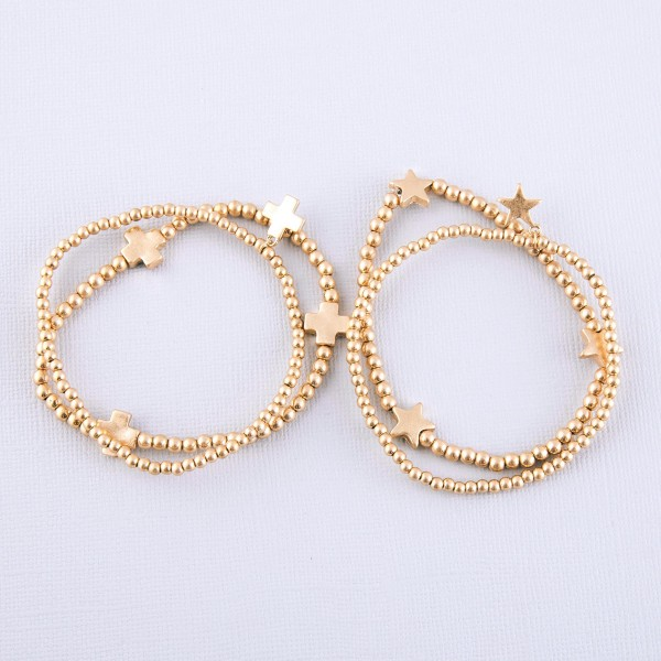"""Worn Gold Sphere Beaded Star Stretch Bracelet Set.  - 2pcs/set - Approximately 3"""" in diameter unstretched - Fits up to a 7"""" wrist"""
