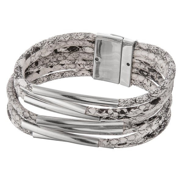 """Faux leather multi strand snakeskin magnetic bracelet with silver accents.  - Magnetic closure - Approximately 3"""" in diameter - Fits up to a 6"""" wrist"""